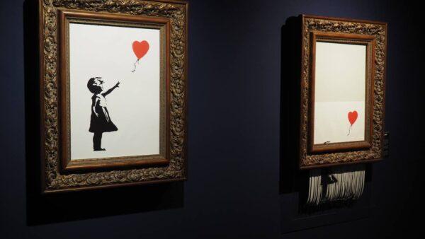 """Reproduktion des selbstschreddernden Bildes """"Girl With Balloon"""" aus dem Jahr 2018"""