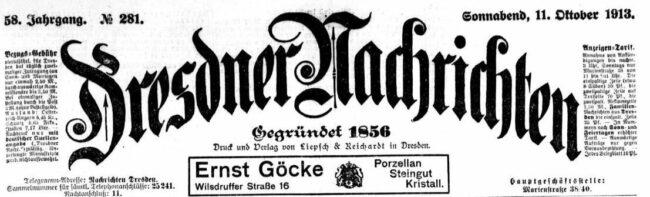 Dresdner Nachrichten vom 11. Oktober 1913