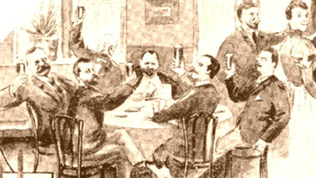 Stammtisch - Karrikatur um 1900