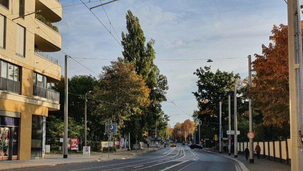 Bautzner Straße in Höhe des Diakonissenkrankenhauses